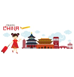 Chinese Girl Travel China City vector image