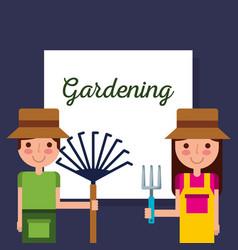 gardening girl and boy gardener with rake and vector image