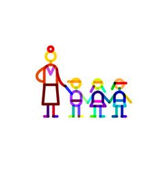 group educator and three kids symbol kindergarten vector image