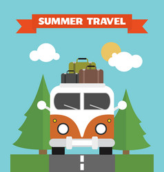 summer travel flat background with bus vector image vector image