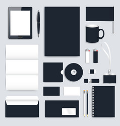 Black blank set of corporate identity vector image