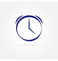 Blue clock with simple lines vector image vector image