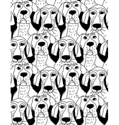 Dogs characters emotions black and white seamless vector image