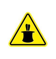 magic trick warning sign yellow hazard attention vector image