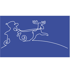 santa claus one line drawing vector image vector image