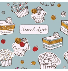 Seamless background with cakes Sweet love card vector image vector image