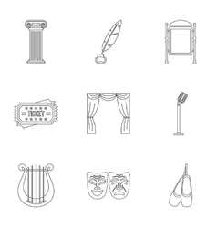 Theatrical performance icons set outline style vector image vector image