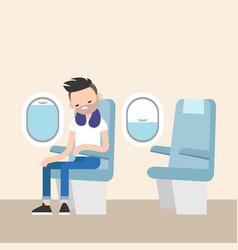trendy bearded man sleeping on the plane vector image