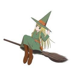 witch riding a broom vector image vector image