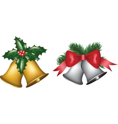 Gold and silver bells vector