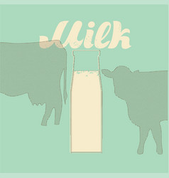 Milk in a glass bottle background vector