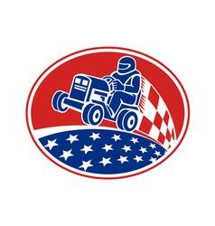Ride On Lawn Mower Racing Retro vector image vector image