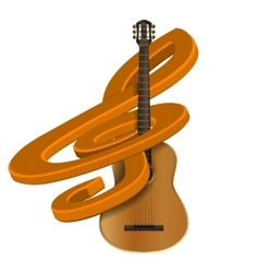 treble clef with guitar vector image