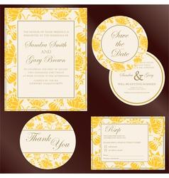 wedding cards yellow copy vector image