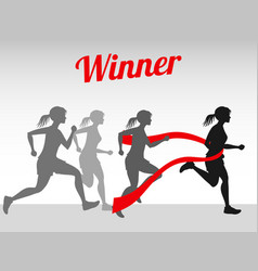winner concept with female running vector image