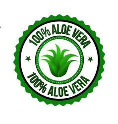 100 aloe vera label or sticker vector