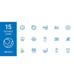 15 beach icons vector