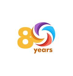 80 year anniversary rainbow template design vector