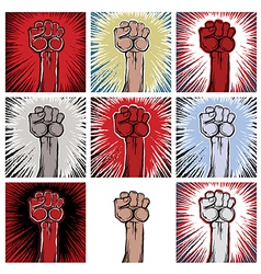 A clenched fist held high in protest vector image
