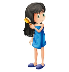 A young girl combing her long hair vector image vector image