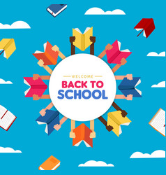 back to school card diverse children hand books vector image