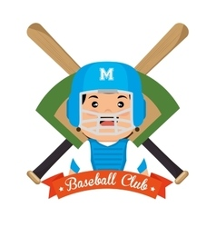 baseball championship badge player with bats vector image