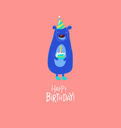bear wishes a happy birthday graphics vector image