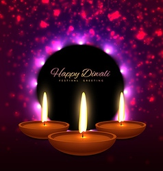 Beautiful happy diwali indian festival greeting vector