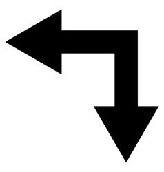 Bifurcation Arrow Left Down Flat Icon vector