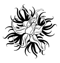 black and white flower tattoo vector image