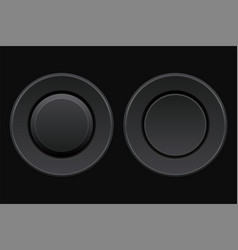 Black round buttons 3d push buttons on vector