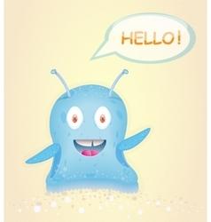 Blue happy alien vector