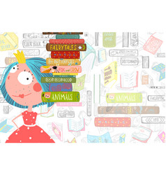 Books and girl reading studying library template vector