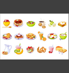 Breakfast food assortment set isolated icons vector