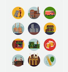 brewery and beer round icons or stickers vector image