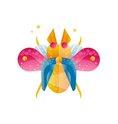 bright colored beetle with open wings creative vector image
