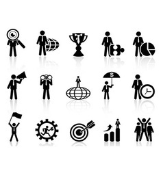business metaphor icons set vector image