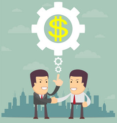 Business partnership two businessman handshaking vector