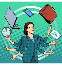 Businesswoman many hands business idea time vector image