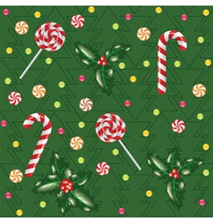 candies lollipops and holly berry vector image vector image