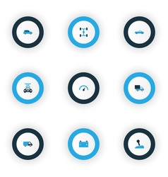 car icons colored set with stick accumulator vector image