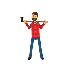 cartoon bearded woodcutter character in red plaid vector image
