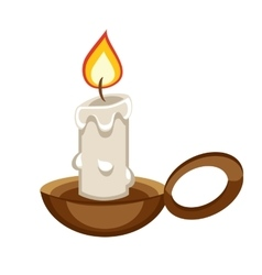 Cartoon burning candle with a holder vector image