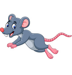 cartoon cute mouse jumping vector image