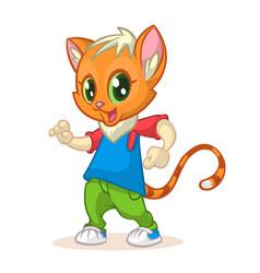 Cartoon kitty dancing vector