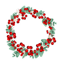 Christmas wreath made red berries vector