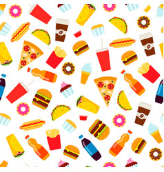 colorful fast food seamless pattern vector image
