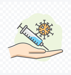 Corona virus vaccine in hand icon isolated on vector