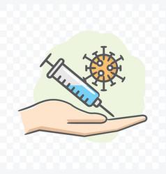 corona virus vaccine in hand icon isolated vector image