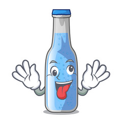 Crazy bottle soda water isolated on mascot vector